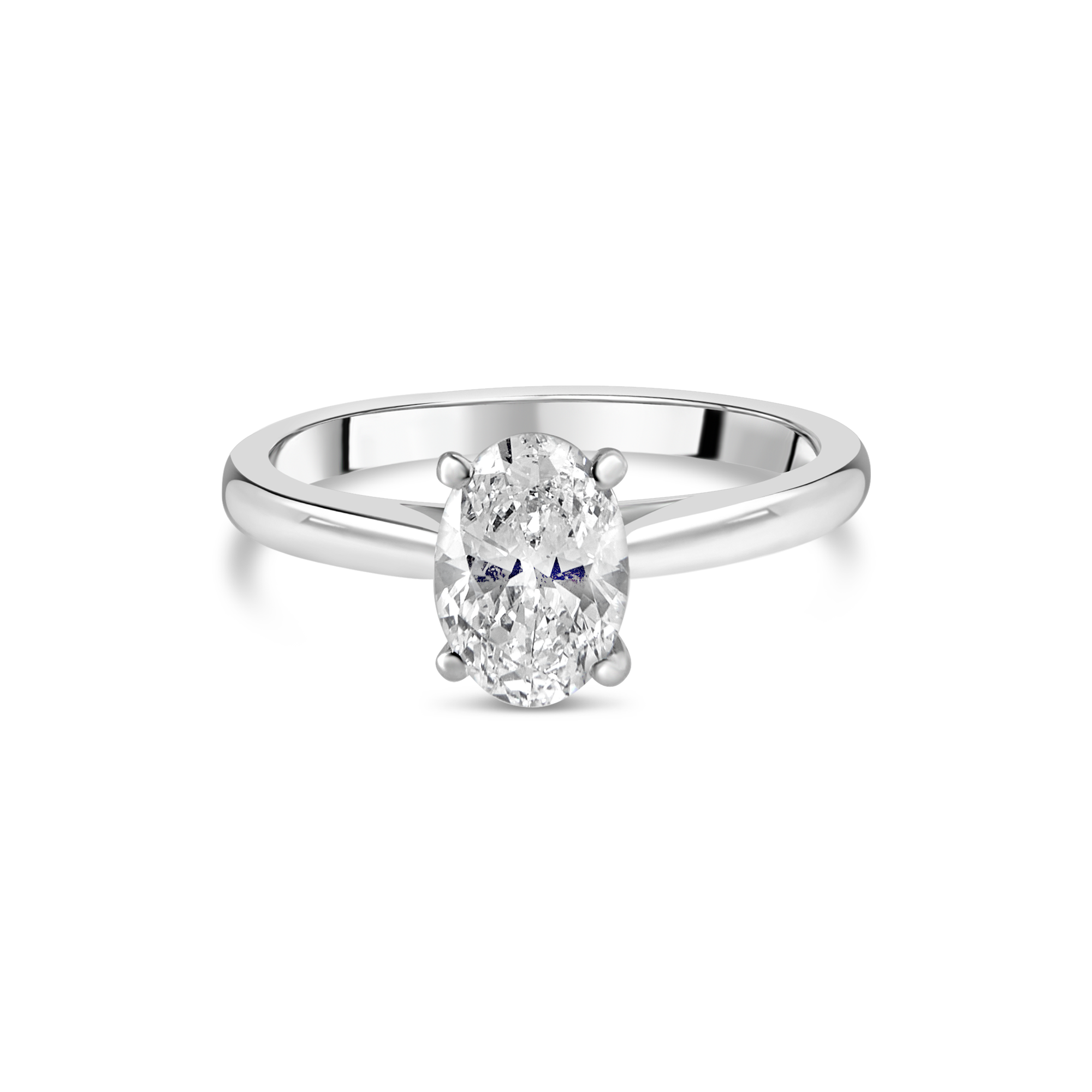 "The ""J'adore"" Oval Solitaire, Platinum"