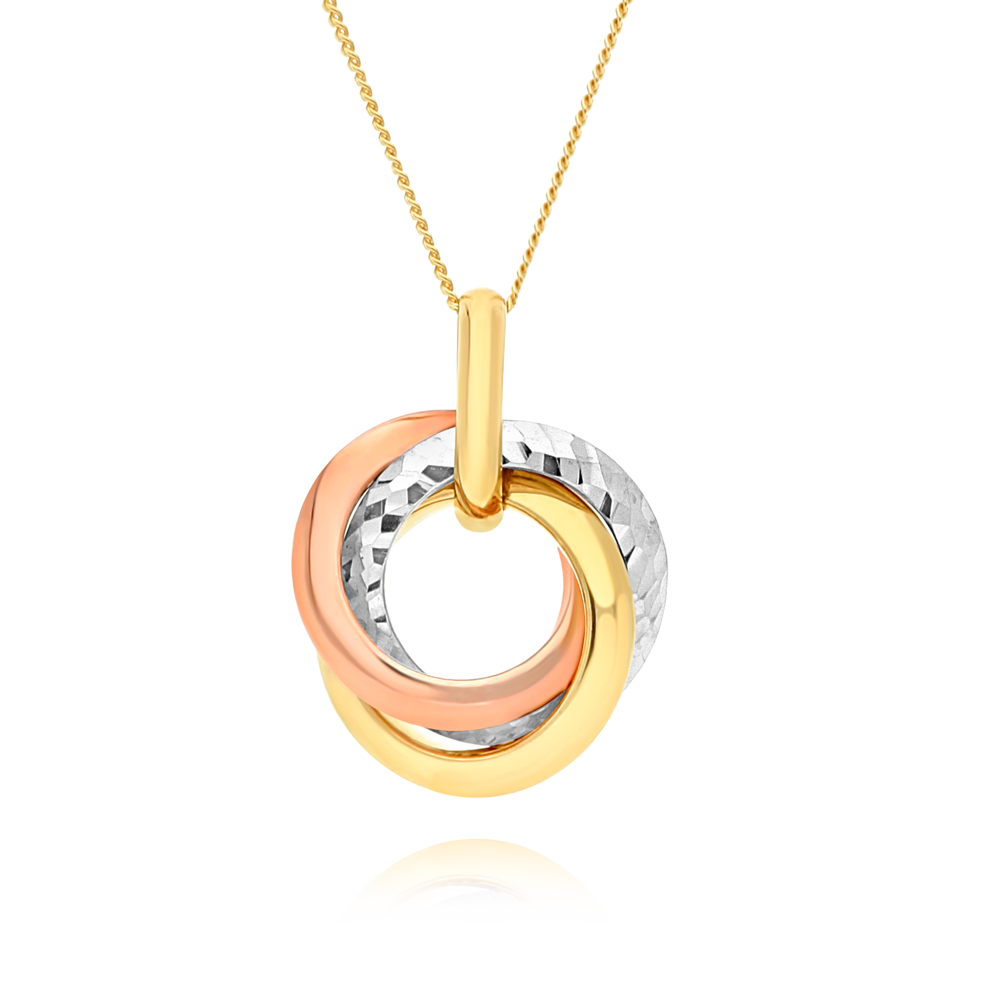 Three Tone Three Ring Pendant