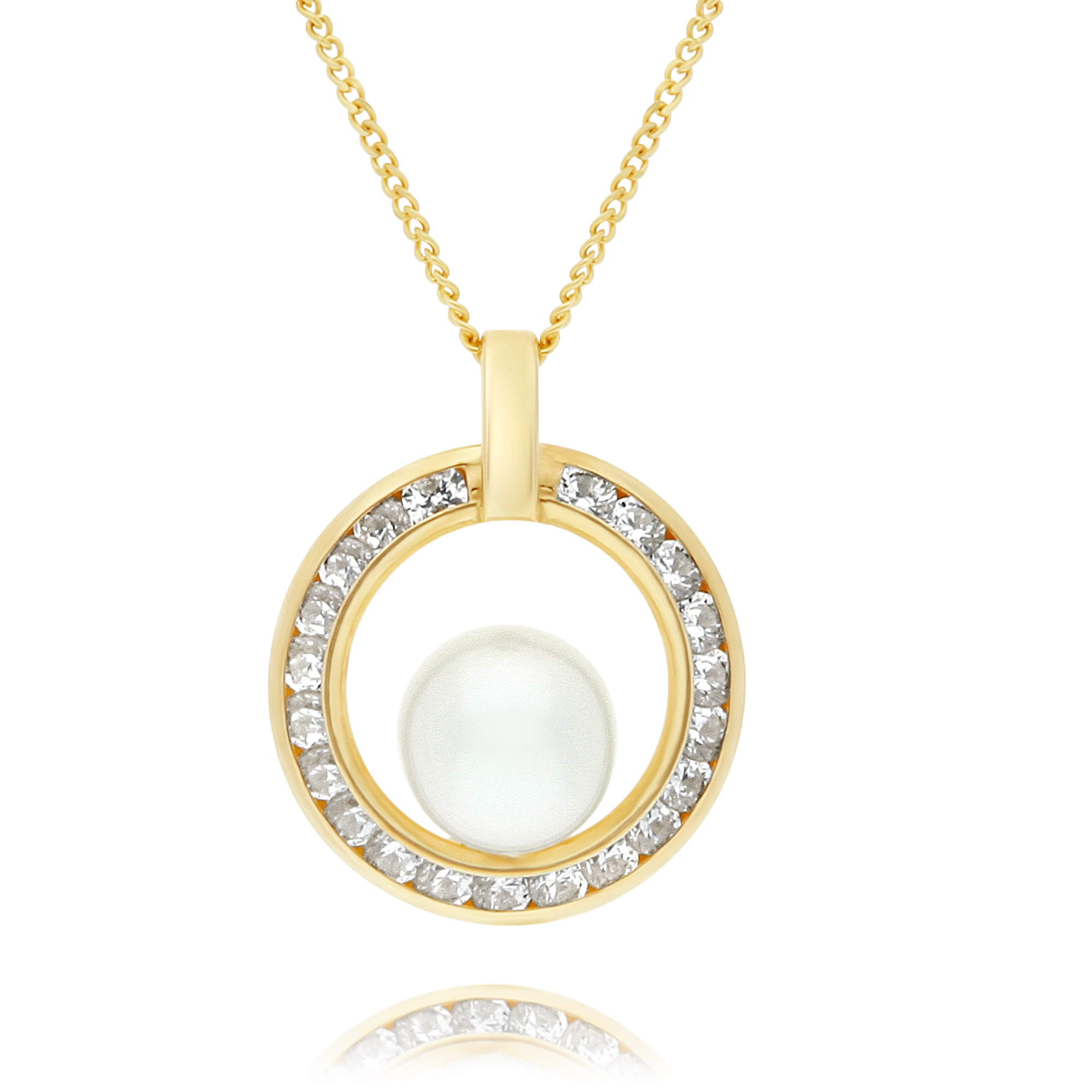 Pear and Cubic Zirconia Circle Pendant