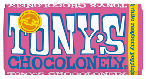 Tony's Chocolonely - white raspberry popping candy 28% (180g bar)