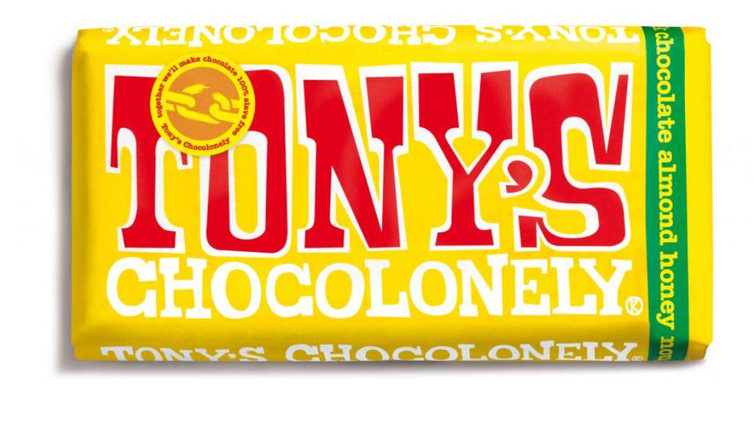 Tony's Chocolonely - milk chocolate almond honey nougat 32% (180g bar)
