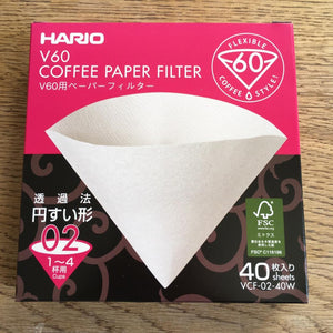 Hario V60 02 Filter Papers, pack of 40