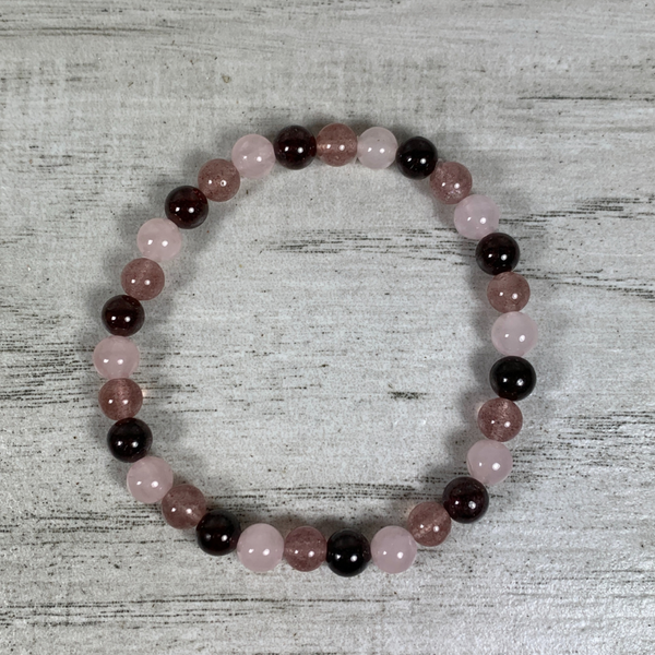Rose quartz, strawberry quartz, and garnet 6mm bracelet