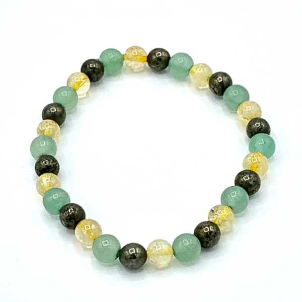 Citrine, Green Aventurine, and Pyrite bracelet