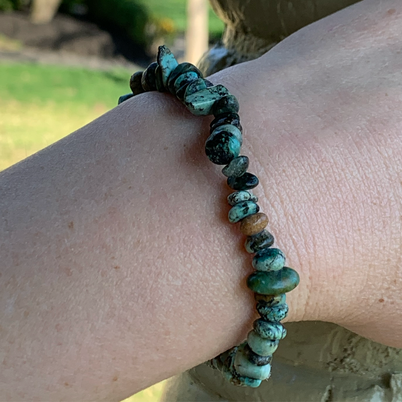 African turquoise encourages growth and development to foster a positive change from within. African turquoise is believed to help ease mood swings, encourage acceptance, and soothe feelings of emotional aggravation resulting in a more optimistic attitude towards life. This stone inspires structure and balance to awaken one to their intended purpose.