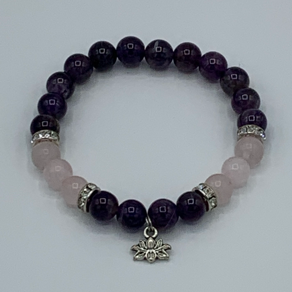 Amethyst and rose quartz with lotus Om bracelet