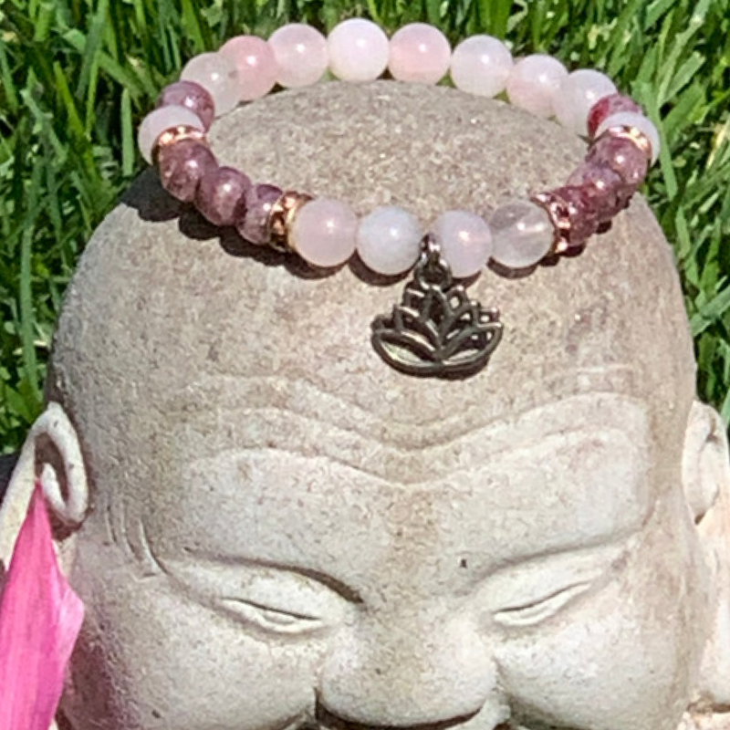 Rose quartz and strawberry quartz lotus bracelet