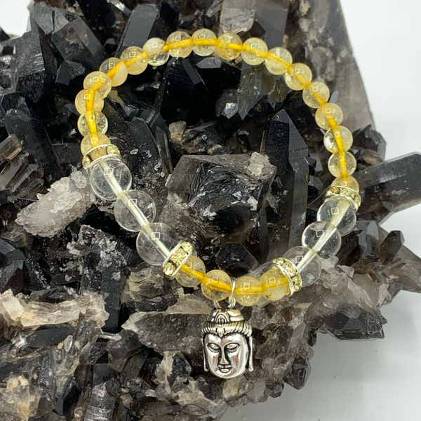 Citrine and clear quartz Buddha bracelet