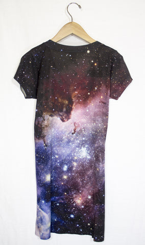Blue Carina Nebula Galaxy Dress, Back