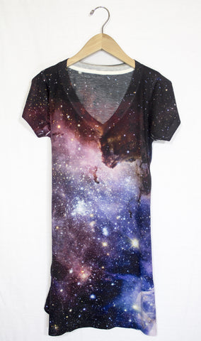 Blue Carina Nebula Galaxy Dress, Front