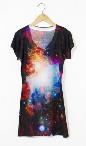 Infrared Orion Nebula Galaxy Dress, Front
