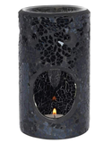 Tall Black Mirrored Crackle Wax Melter