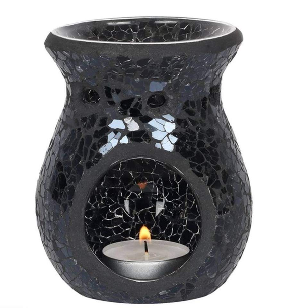 Large Black Mosaic Crackle Wax Burner