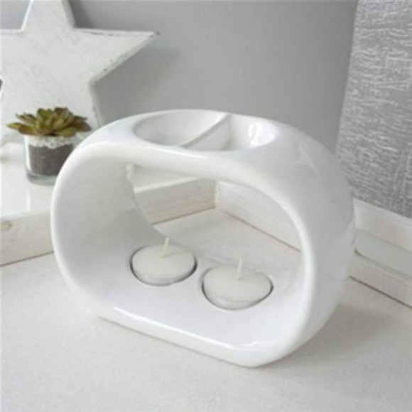white duo bowl wax burner