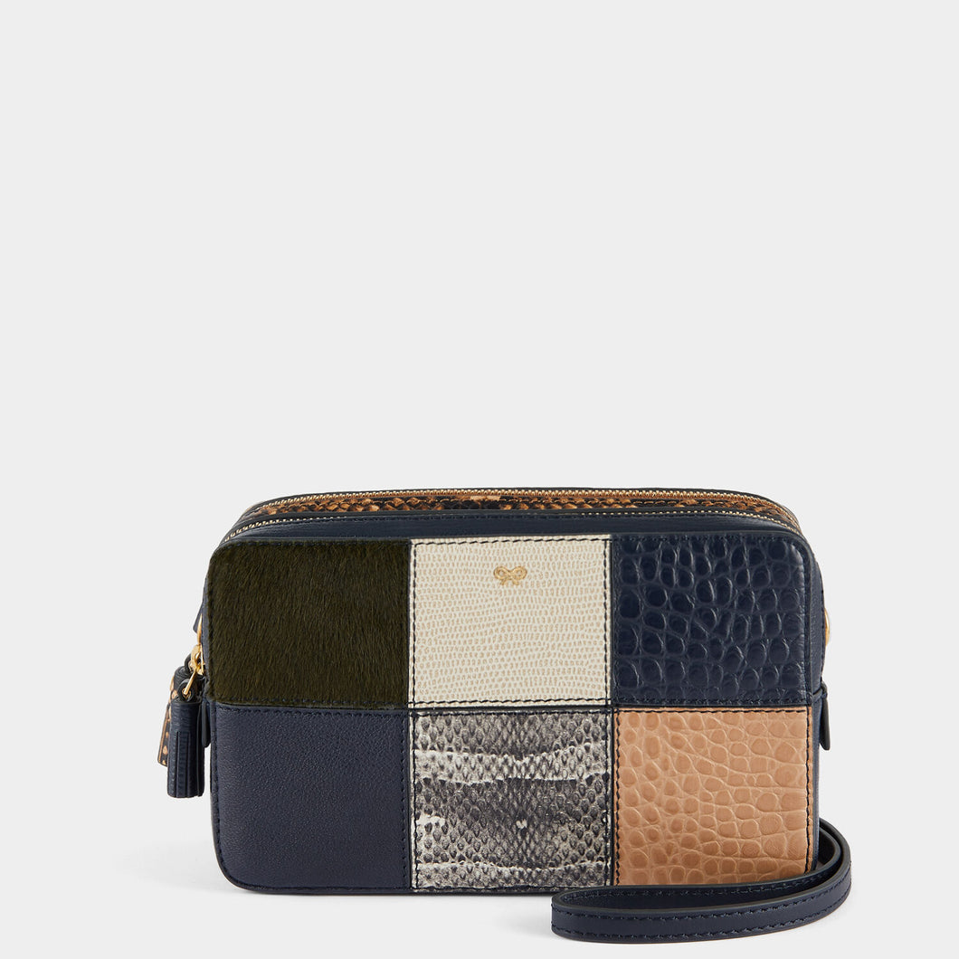 Patchwork Double Zip Cross-Body Marine
