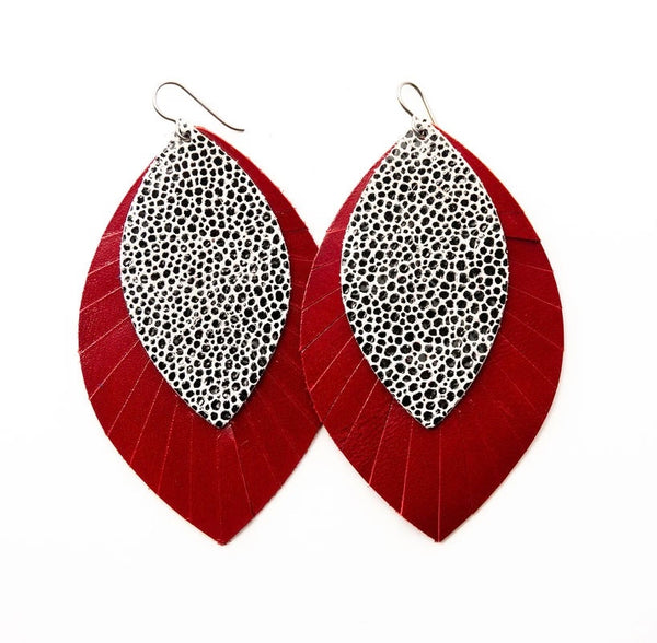 Black and White Speckled With Red Fringe Base | Double Layer Leather Earrings