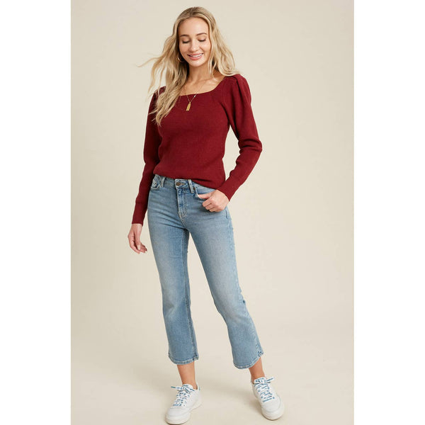 Square Neck Puff Sleeve Pullover