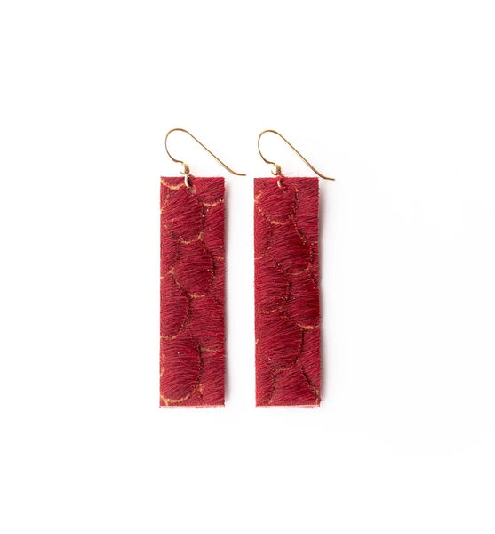 Scalloped in Red Four Corner Leather Earrings