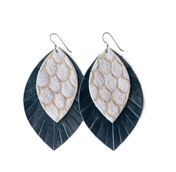 Scalloped in Gray with Navy Fringe Base | Double Layer Leather Earrings