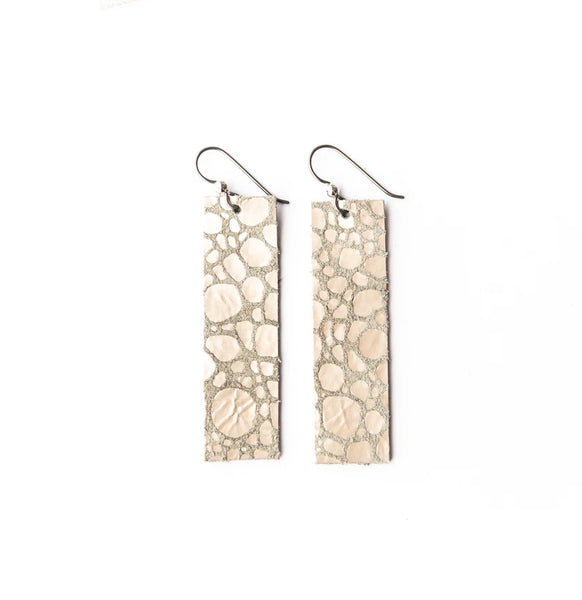Pebbles in Platinum Four Corner Leather Earrings
