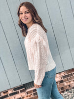 Ruffled White Fringe Sweater