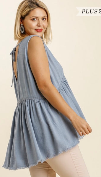 Dusty Blue Babydoll Top
