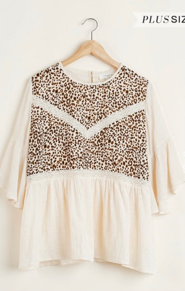 Animal Print Top with Lace