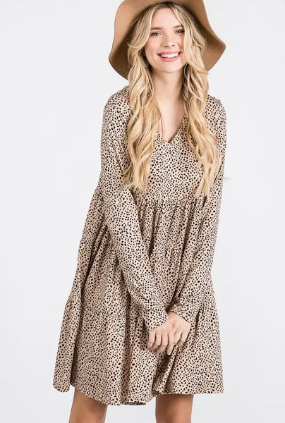 V Neck Long Sleeve Tiered Dress