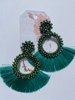 "Beaded ""O"" tassel earring"