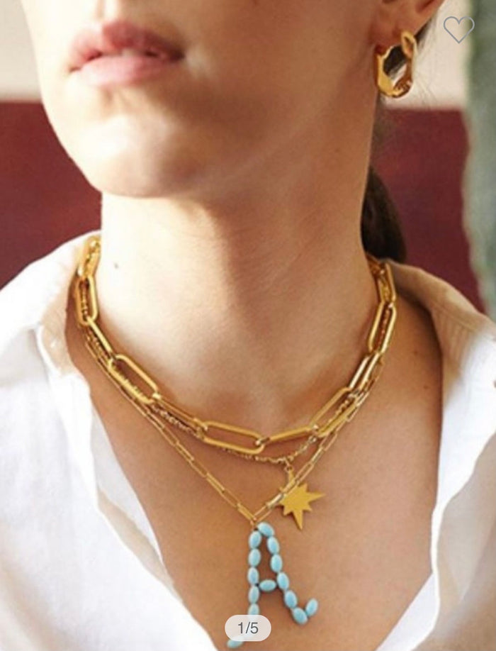 Turquoise Initial Boyfriend Chain Necklace