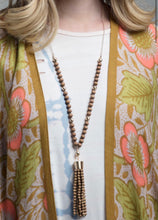 Load image into Gallery viewer, Wood Bead Tassel Necklace