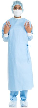Non-Reinforced Surgical Gown with Towel ULTRA- Large Blue Sterile AAMI Level 3 Disposable
