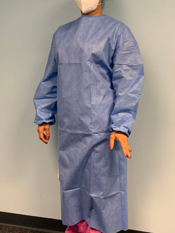almadix 35g SMS - Disposable Isolation Gown/Clothing-Blue (( $5.95))