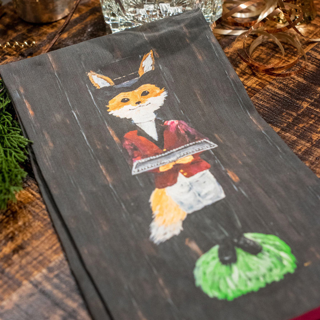 Foxy Butler Tea Towel by Artist Kat Easterly
