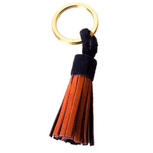 Suede Tassel Key Silks in Navy/Orange