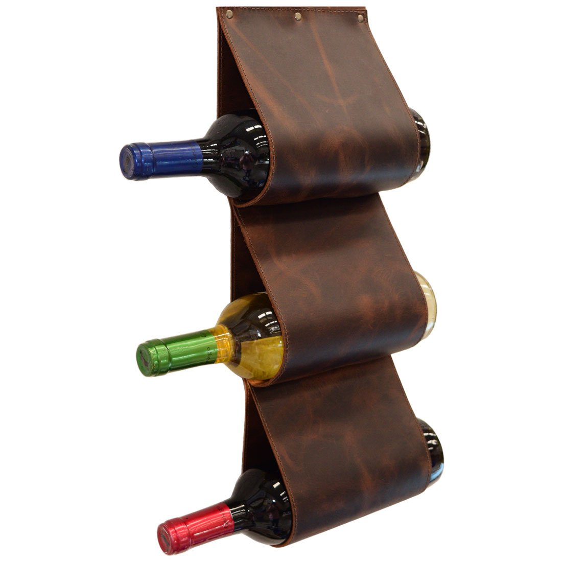 Leather Wall Rack Wine Holder