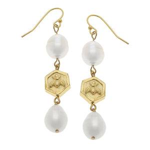 Gold Bee Bead and Genuine Freshwater Pearl Earrings