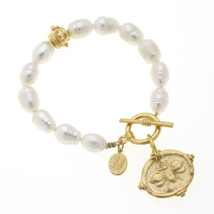 Gold Bee on Genuine Freshwater Pearl Bracelet