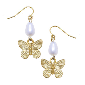 Gold Butterfly and Freshwater Pearl Drop Earrings