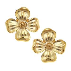 Gold Dogwood Earrings
