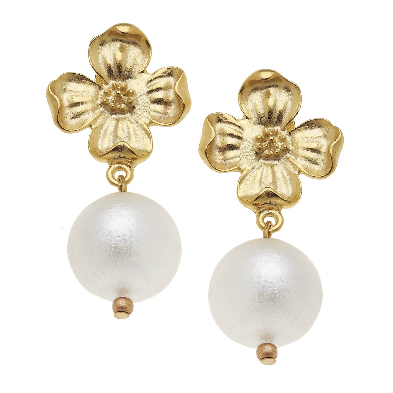 Gold Dogwood and Cotton Pearl Earrings