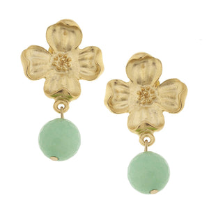 Gold Dogwood with Green Jade Earring