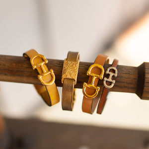 Gold Equestrian Bit Leather Bracelet