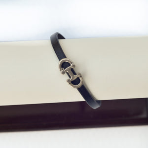 Silver Equestrian Bit Leather Bracelet