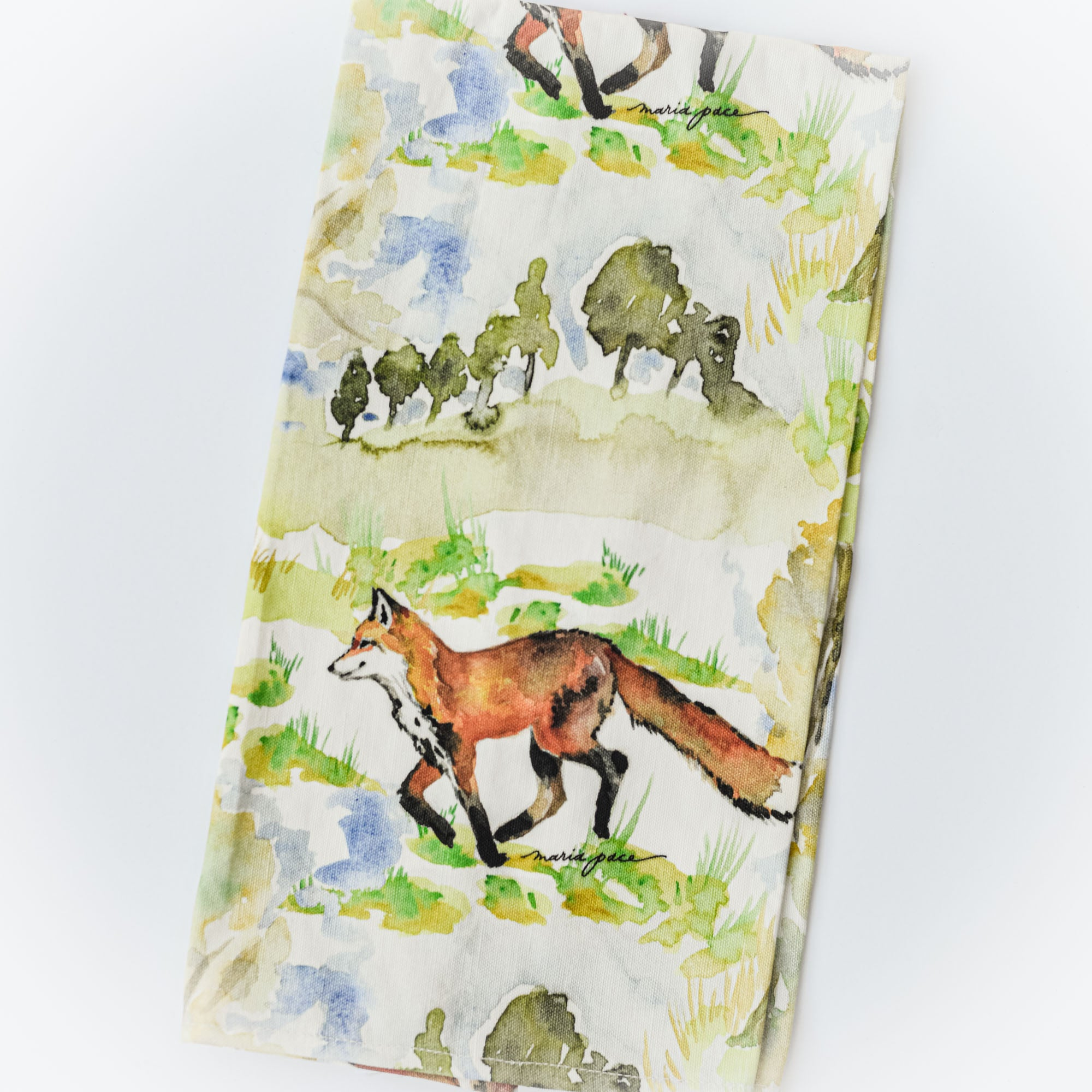 Fox on an Adventure Tea Towel, The Maria Pace Collection for the Wine & Country Shop