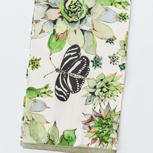 Zebra Lacewing Butterfly & Succulents Tea Towel, The Maria Pace Collection for the Wine & Country Shop