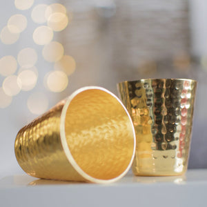Shot Glasses Hammered Gold-Plated - Gift Box Set