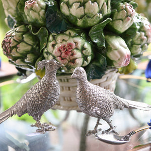 Pewter Pheasant Statuettes