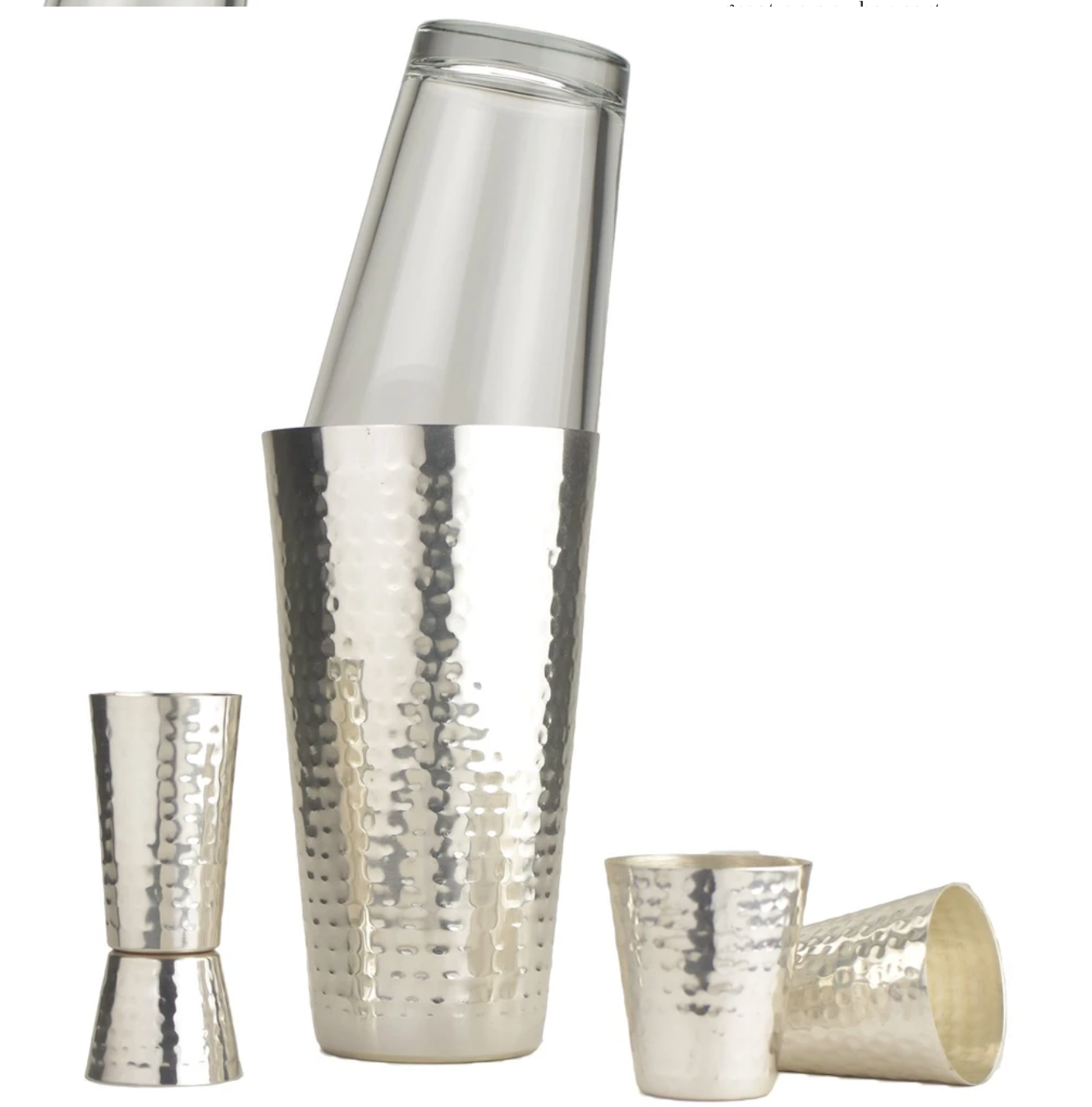Hammered Boston Style Shaker Set - Silver Plate