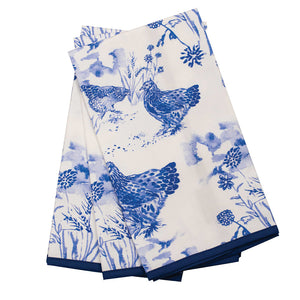 Hens in Blue Tea Towel, The Maria Pace Collection for the Wine & Country Shop